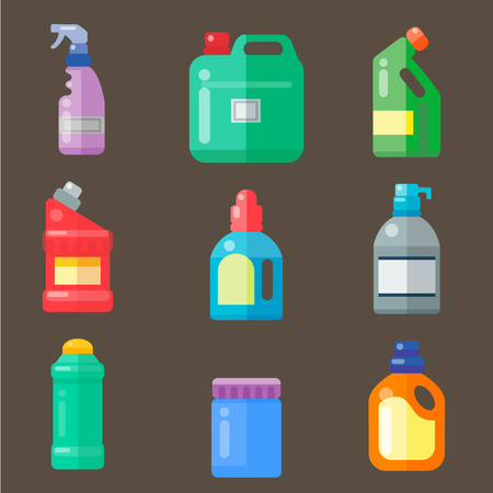 Bottles of household cleaning chemicals supplies.