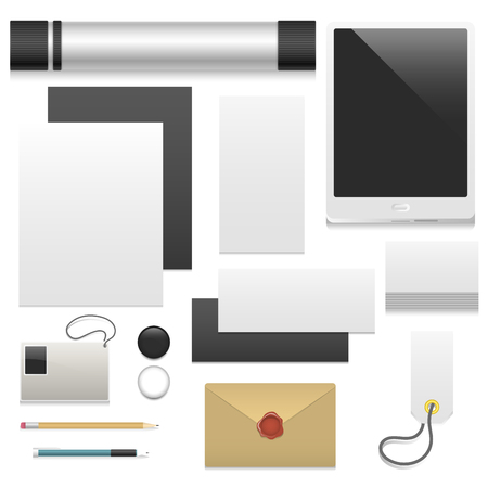 Premium corporate identity template business stationery. Mock-up realistic 3d top view vector illustration Ilustracja