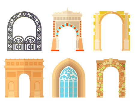 Arch design architecture construction frame classic, column structure gate door facade and gateway building ancient construction vector illustration. Illusztráció