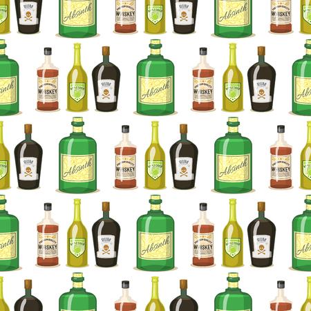 Alcohol strong drinks in bottles cartoon glasses seamless pattern background whiskey cognac brandy wine vector illustration 向量圖像
