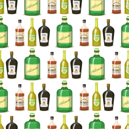 Alcohol strong drinks in bottles cartoon glasses seamless pattern background whiskey cognac brandy wine vector illustration Illustration