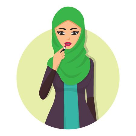 Arabic woman adult character Arabian Asia nationality islamic girl face in hijab vector illustration