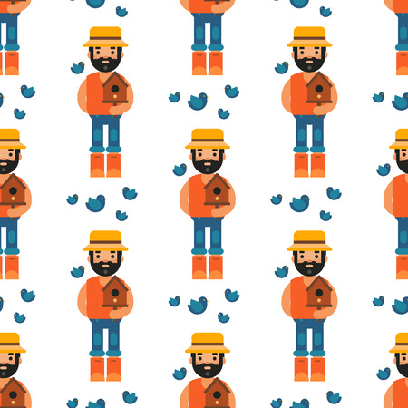 Farmer forester man seamless pattern background agriculture person profession rural gardener worker farming vector illustration.