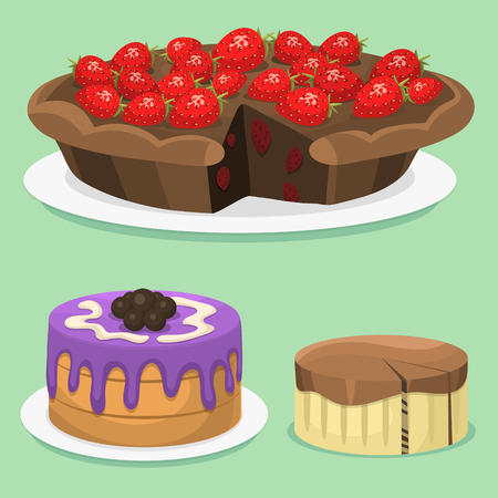 Cartoon cake fresh tasty dessert sweet pastry pie vector illustration gourmet homemade delicious Ilustração