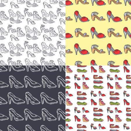 Satz von Frauen Schuhe nahtlose Muster Hintergrund Vektor handgezeichneten Stil von metallischen Herren Kreide Schuh Vektor-Illustration Standard-Bild - 90147844