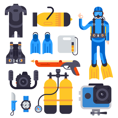 Set of flat elements for spearfishing diving underwater protective sea diver equipment vector professional hunter tools. Stock Photo