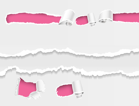Torn edges hole ragged paper edge and crack realistic 3d style vector illustration collection