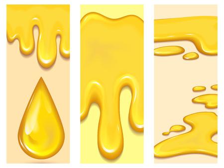 오렌지 꿀 드랍 스의 집합 flayer 브로셔 및 노란색 밝아진 카드 건강 한 시럽 황금 음식 액체 드립 벡터 일러스트 레이 션.