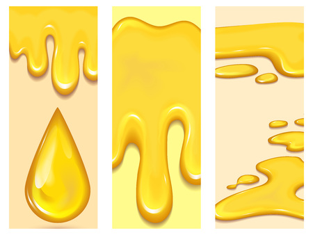 Set of orange honey drops flayer brochure and yellow splashes cards healthy syrup golden food liquid drip vector illustration. Illustration