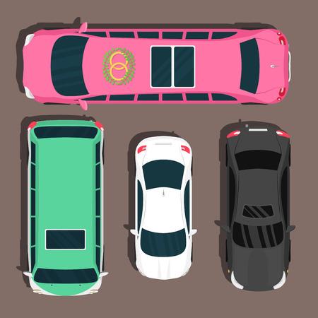 Top view colorful car toys pickup automobile transport wheel transportation design auto vector illustration.