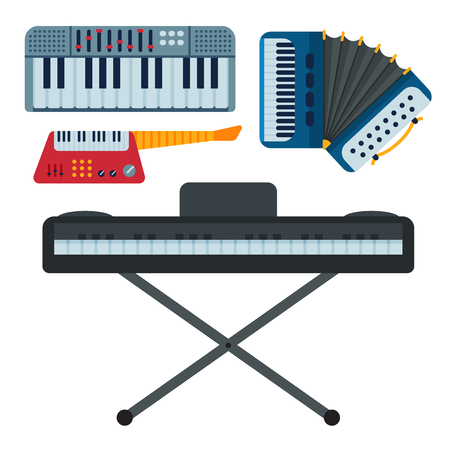 Keyboard musical instruments isolated classical musician piano equipment vector illustration Illustration