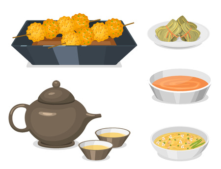 Chinese tradition food dish delicious cuisine asia dinner meal china lunch cooked vector illustration Illusztráció