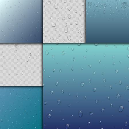 Realistic water drops liquid transparent raindrop splash background vector illustration Illustration