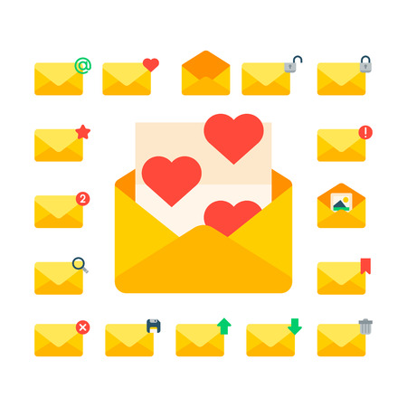 Email envelope cover icons communication correspondence blank cover address design paper empty card writing message vector illustration. Stock Photo