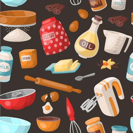 Baking cooking vector ingredients bake making cakes cook pastry prepare kitchen utensils homemade food preparation bakeware illustration bowl, sugar, powder seamless pattern background Stock Illustration - 90146426
