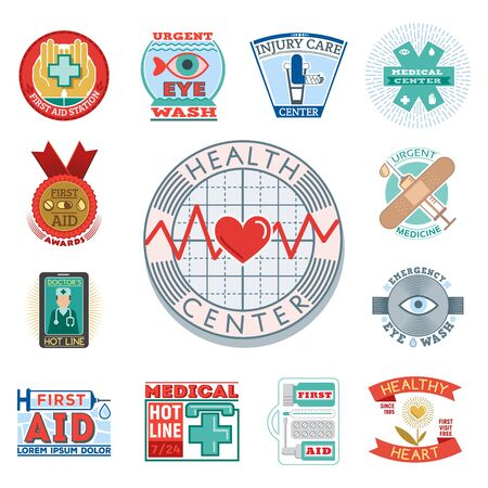 Vector illustration of medical emblem vintage tag for first aid healthcare and pharmacy medicine. Stock Photo