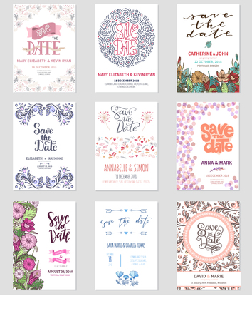 Vector Save the Date wedding floral card invitation celebration date save vintage flowers design illustration template invite isolated on white background print layout design Фото со стока - 90155219