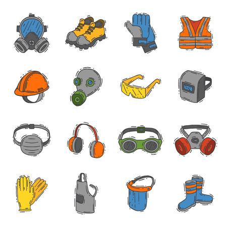 Vector bescherming kleding veiligheid industrie pictogrammen beschermend gezicht en lichaam apparatuur bouwhelm, googles, masker en laarzen industriële masker voor beschermen werk leven illustratie Stock Illustratie