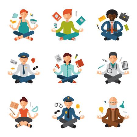 Meditatie yoga vector mensen ontspannen procedure verschillende beroepen politieagent, arts, zakenman en piloot ontspanning lotus pose zittende meditatieve karakters illustratie