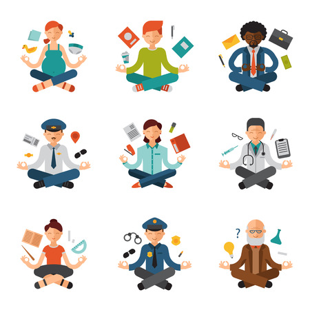 Meditation yoga vector people relax procedure different professions policeman, doctor, businessman and pilot relaxation lotus pose sitting meditative characters illustration