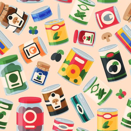 缶は缶詰食品コンテナー製品のシームレスなパターン ベクトル図です。