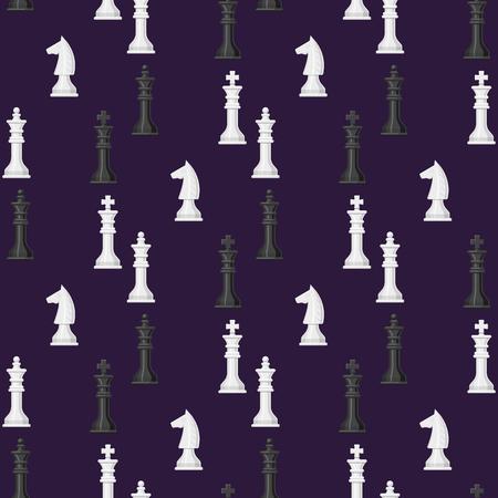Illustrazione bianca e nera di vettore della concorrenza del pezzo del cavaliere di concetto di svago di scacchi del fondo dei pezzi degli scacchi del modello senza cuciture del bordo di scacchi Vettoriali