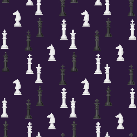 Van het de achtergrond van het schaakraad naadloze patroon van de het conceptenridder van de vrije tijdsruimte van de de groep witte en zwarte stuk de concurrentie vectorillustratie