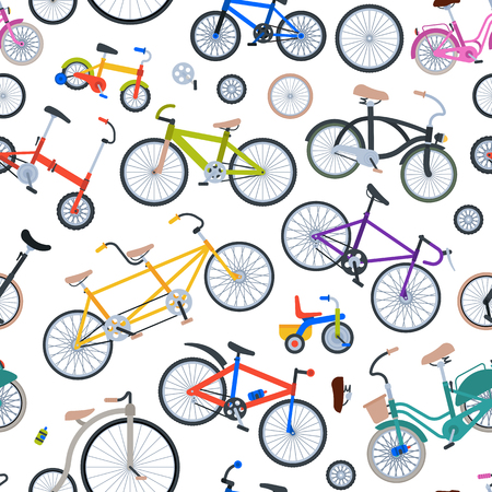 Retro bike vintage vector old fashioned cute hipster transport ride vehicle bicycles summer transportation illustration isolated on white seamless pattern background Illustration