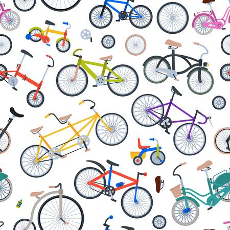 Retro fiets vintage vector ouderwetse schattige hipster vervoer rit voertuig fietsen zomer transport illustratie geïsoleerd op witte naadloze patroon achtergrond Stock Illustratie