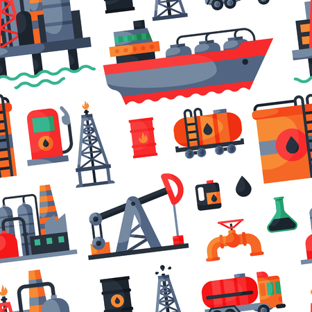 Oil petroleum extraction processing transportation recovery industry refinery fuel gas drilling industrial pump vector illustration seamless pattern background
