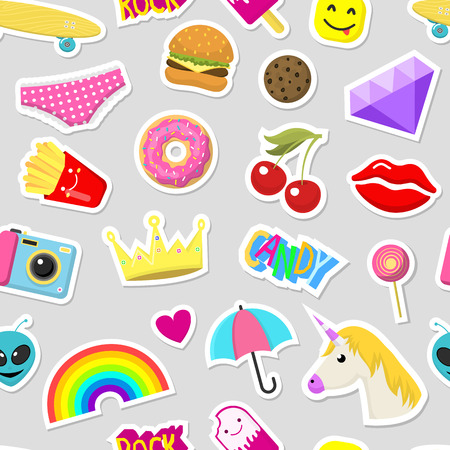 Girl fashion stickers patches cute colorful badges fun cartoon icons design doodle element trendy print vector illustration seamless pattern background