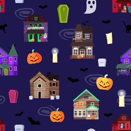 不気味なハロウィーンのお化けハウスとカボチャのシームレスなパターン背景。