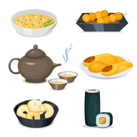 Chinese tradition food set, vector illustration. Standard-Bild - 90305365