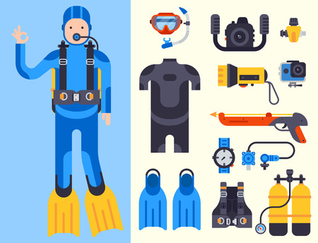 水中ダイビング ヤスでの漁のため平らな要素のセット。保護海ダイバーの機器。  イラスト・ベクター素材