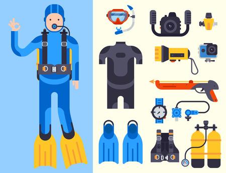 Conjunto de elementos planos para la pesca submarina bajo el agua. Equipo de protección buzo de mar. Ilustración de vector