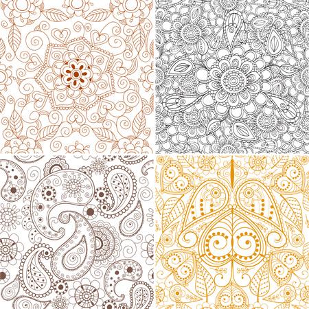 Blumenmehendi-Musterverzierungs-Vektorillustration. Handgezeichnete Henna asiatischen Textilstil. Ethnisches dekoratives Spitzeweinlese-Mandala-Zusammenfassungsgewebe. Standard-Bild - 90305449
