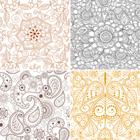 Floral mehendi pattern ornament vector illustration. Hand drawn henna Asian textile style. Ethnic ornamental lace vintage mandala abstract textile.