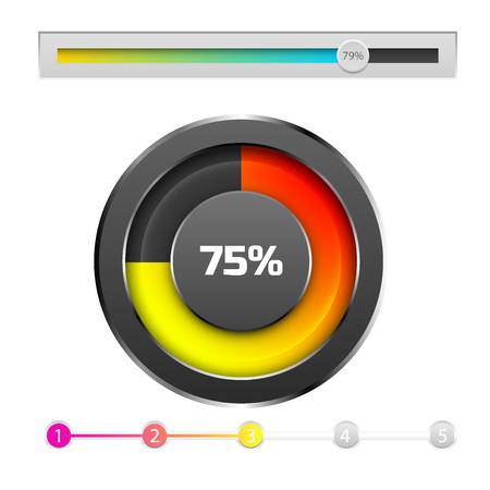 Progress loading bar indicators download progress web design template vector illustration. Simple file loader ui-ux bright downloading time indication graph.