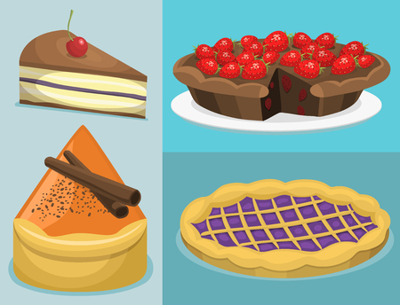 Gourmet homemade delicious desserts in flat illustration. Cartoon fresh cake and sweet pastry pie
