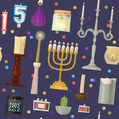 Vector Chanoeka Menora kaarsen kaarslicht vlam decoratieve wax kandelaar set cartoon Kerstmis of Joodse Hanukah vakantie decoratie naadloze patroon achtergrond
