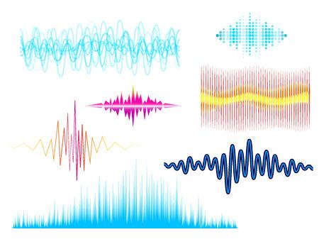 Digital music equalizer audio waves design template. Audio signal visualization illustration.