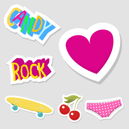 Cute hipster stickers scrapbook drawing. Illustration of fashion patch pop design hand drawn badges. Иллюстрация