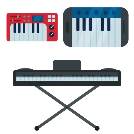 Toetsenbord muzikale instrumenten die op wit worden geïsoleerd Stock Illustratie