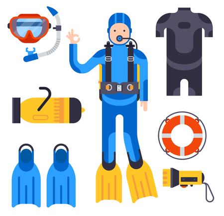 Conjunto de elementos planos para el buceo. Equipo submarino de buceo submarino de protección.