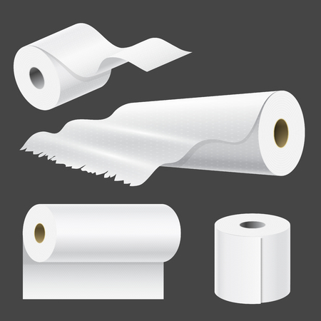 Realistic paper roll mock up set isolated. vector illustration of blank white 3d packaging kitchen towel template.