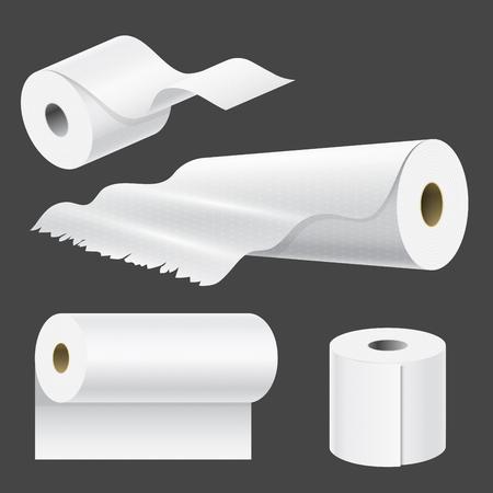 Rollo de papel realista maqueta conjunto aislado. Ilustración de vector de plantilla de toalla de cocina de empaquetado 3d blanco en blanco.