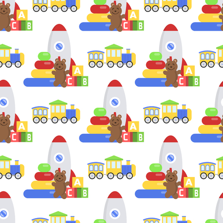 A Seamless pattern background full of kid toys Cartoon cute graphic baby room vector illustration
