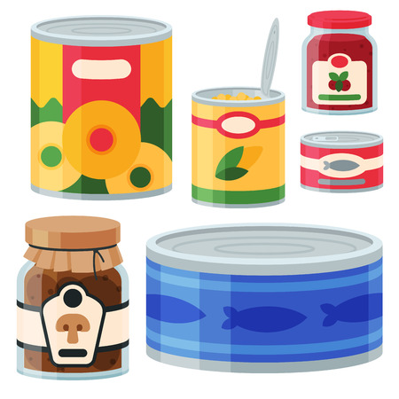 Collection of various tins canned goods food metal and glass container vector illustration. Illustration