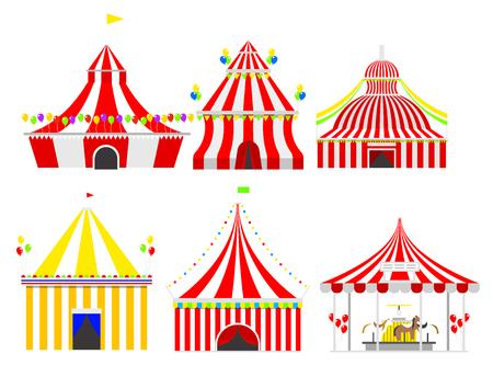 줄무늬와 깃발이있는 서커스 쇼 엔터테인먼트 텐트 천막 야외 축제