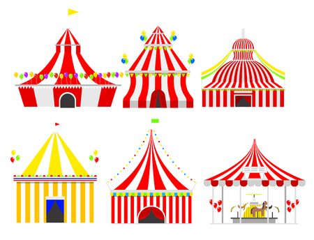 Circus show entertainment tent marquee outdoor festival with stripes and flags